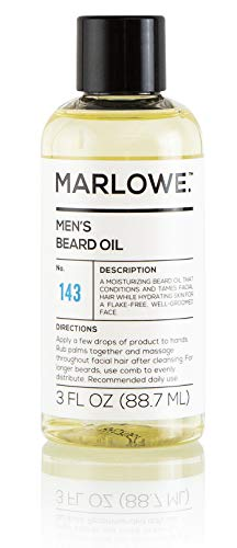 MARLOWE. Beard Oil Conditioner for Men No. 143 | Softer & Fuller Beard Care | Large 3oz Size | 100% Natural | Unscented Softener | Condition and Nourish Beard Health