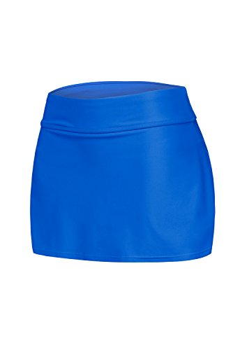 Itsmode Women's Sexy Solid Waistband Swim Skort Bikini Skirt Tankini Bottoms Juniors Swimsuits Blue Small Size by Itsmode (Image #1)