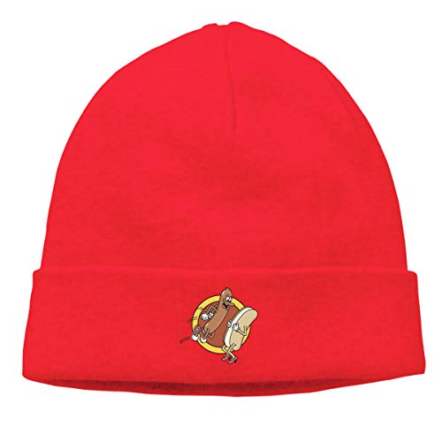Hip-Hop Knitted Hat for Mens Womens Hot Dog Jumping in Bun Unisex Cuffed Plain Skull Knit Hat Cap Head Cap]()