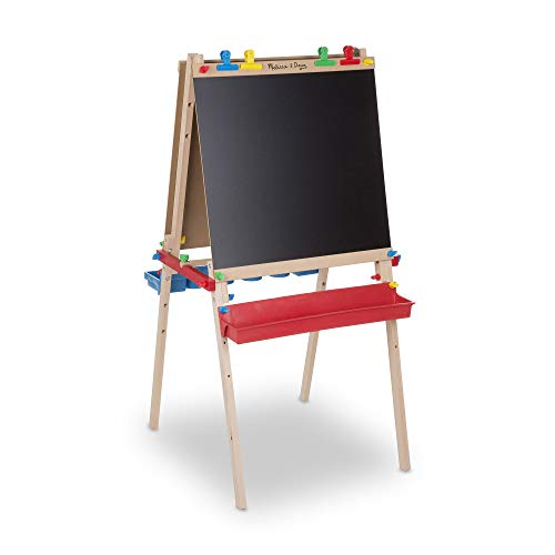 Melissa & Doug Deluxe Wooden Standing Art Easel, Arts & Crafts, Easy to Assemble, Builds Fine Motor Skills, 47
