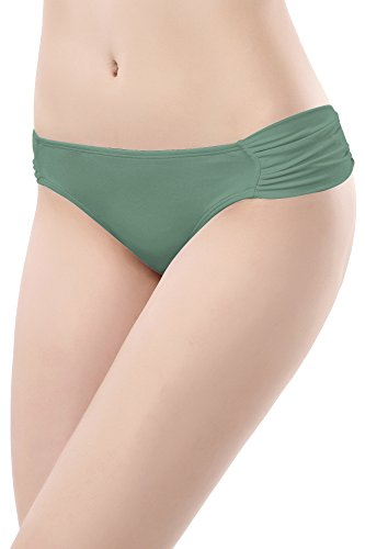 SHEKINI Swimwear Shirred Side Low-Rise Hipster Bikini Bottom for Women (Medium/(US 8-10), Olive Green)