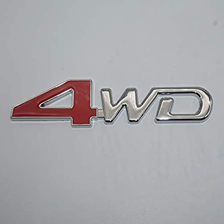 Chrome Red One Pcs 4Wd Hq Metal Trunk Badge Auto Fender Side Door Car Self Adhesive Emblem Logo Body Hood Decal Sticker Replacement Truck Sports Name Plate Swap 3D Die Cast