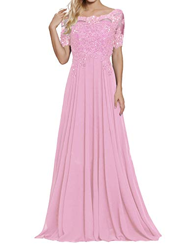 - A Line Mother of The Bride Dresses for Wedding Party Gown Long Prom Dress Pink US16W