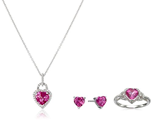 ted Pink Sapphire Heart with Diamond Ring,Earrings and Pendant Necklace Box Set (Created Pink Sapphire Heart)