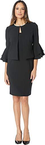 Tahari by ASL Women's Crepe Jacket Dress with Pearl Trim Suit Black 4
