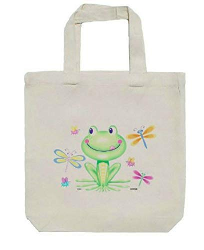 """Frog & Dragonflies Childs Childrens Size Canvas Tote Bag, Books, Toys, Crafts, 13"""" X 13"""" x 3"""" from All My Favorite Things 3"""