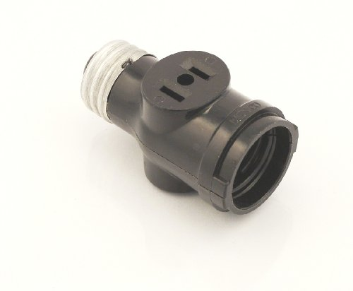 Leviton 1403 Two Outlet Socket Adapter, Black (Garage Light Fixture With Outlet)