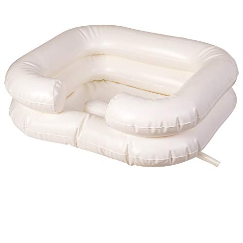 (DMI Portable Shampoo Basin, Deluxe Inflatable Shampoo Basin, White)