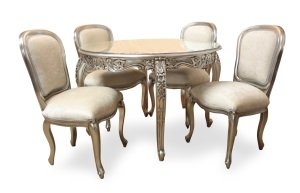 french style furniture carved round dining table and 4 chairs silver