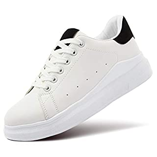 ZGR Women's Fashion Sneakers White PU Leather Platform Sneaker for Women Lace Up Walking Shoes (Black,US6)