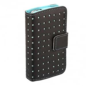 Dot Wallet Leather Card Holder Flip Pouch Case Cover For iPhone 4 4S --- Color:Blue