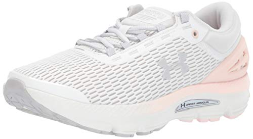 Under Armour Women's Charged Intake 3 Running Shoe, Onyx White (102)/Orange Dream, 12