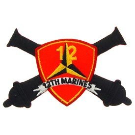 US Marines Military Iron On Patch - 3rd Division Unit - 12th Marine Cannons Logo