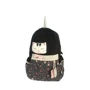 [Smile Cat] 100% Cotton Fabric Art School Backpack / Outdoor Backpack