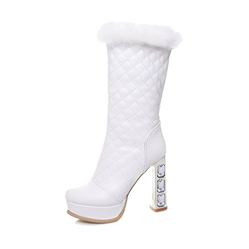 Allhqfashion Women's Mid-top Solid Pull-on Round Closed Toe High-Heels Boots White Prfygnh