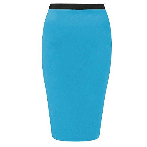 Funky Boutique Jupe crayon mi-longue moulante en Jersey Stretch bureau jupe Taille 36C50 Turquoise