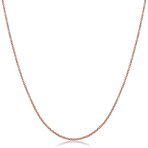 Kooljewelry 18k Rose Gold 1 mm Round Cable Chain Necklace (16, 18, 20, 22, 24, 30 or 36 inch)