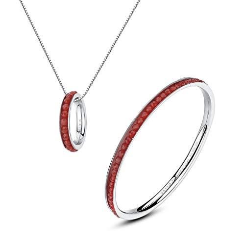 OKIKO Birthstone Siren Jewerly Set Gift Gemstone Beads Stack Skinny Bangle Pendant Necklace