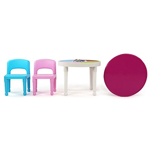 31yIYomjmZL - Tot Tutors Kids 2-in-1 Plastic LEGO-Compatible Activity Table and 2 Chairs Set, Bright Colors