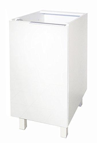 Berlenus Low Kitchen Cabinet with 1 Door, Blanc Haute Brillance, 40 x 52 x 83 cm