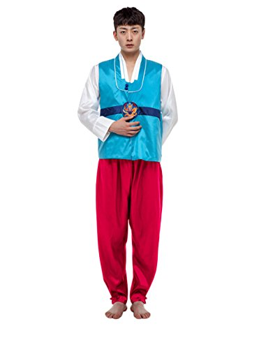 Korean Dance Costume (Lemail Wig Korean Traditional Costume Hanbok Men Set (XL, 1))