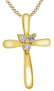 0.10 Ct Round Natural Diamond Cross Pendant Necklace In 14K Solid Yellow Gold