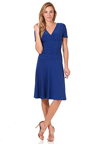 Rekucci Women's Slimming Short Sleeve Fit-N-Flare Crossover Tummy Control Dress (6,Sapphire)