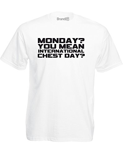 International Chest Day, Mens Printed T-Shirt - White/Black - Day International Male White