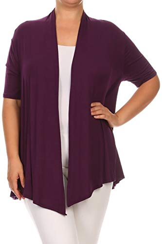 - Plus Size Solid Print Casual Short Sleeve Draped Open Front Cardigan/Made in USA Plum 3XL