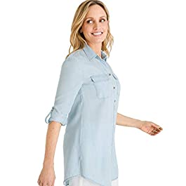 Chico's Women's Basic Denim Medium-Wash Shirt Denim