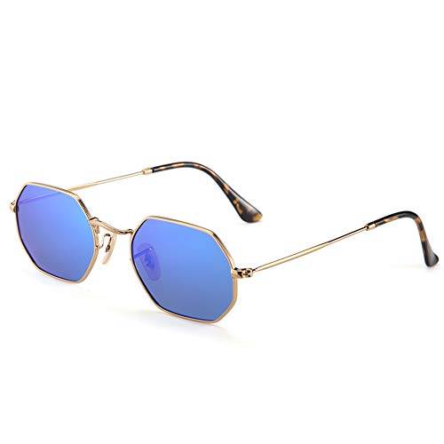 2020Ventiventi Stainless Steel Small Sunglasses for Womens Polarized Blue Revo Glasses Shade Geometric Hexagonal Lens Gold Metal Frames Asymmetry Temple Hipster Polygon Style for Small Face 17004C03 ()