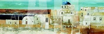 ArtToCanvas 54W x 19H inches : Veduta di Thira by Fulvio Dot - Canvas w/Brushstrokes ()