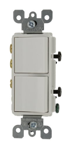Leviton 5640-W 20 Amp, 120/277 Volt, Decora 3-Way / 3-Way AC Combination Switch, Commercial Grade, Grounding, White