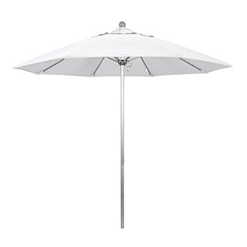 California Umbrella 9' Round Aluminum/Fiberglass Umbrella, Push Open, Silver Pole, Olefin White Fabric ()
