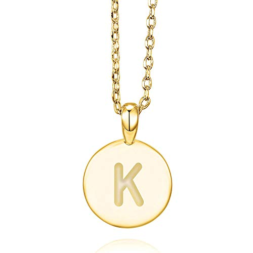 (PAVOI 14K Yellow Gold Plated Letter Necklace for Women | Gold Initial Necklace for Girls | Letter)