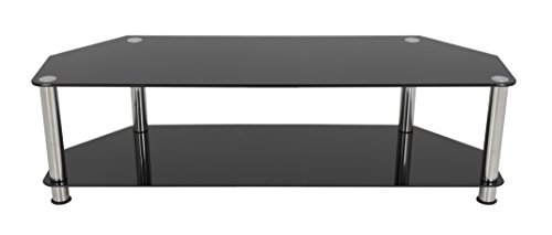 AVF SDC1400-A  TV Stand for up to 65-inch TVs, Black Glass, Chrome Legs