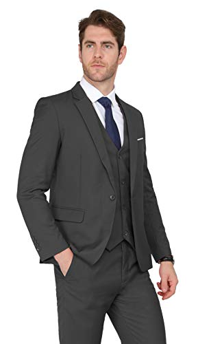 MAGE MALE Men's 3 Pieces Suit Elegant Solid One Button Slim Fit Single Breasted Party Blazer Vest Pants Set Dark Grey Small