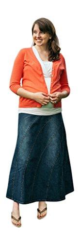 Maternity Long Skirts - Deborah Women's Rainbow Maternity Skirt Large Denim