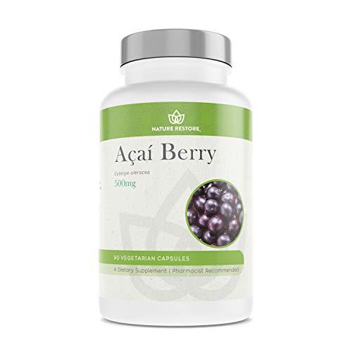 Organic Acai Berry Supplement, Freeze Dried, 90 Acai Berry Capsules, Non GMO, Gluten Free, Vegan
