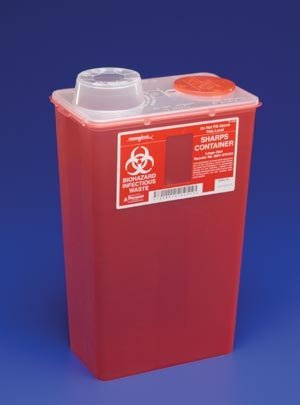 (Kendall 8881676434 Monoject Sharps-A-Gator Chimney-Top Sharps Biohazard Waste Container, 14 qt Capacity, 10-71/128
