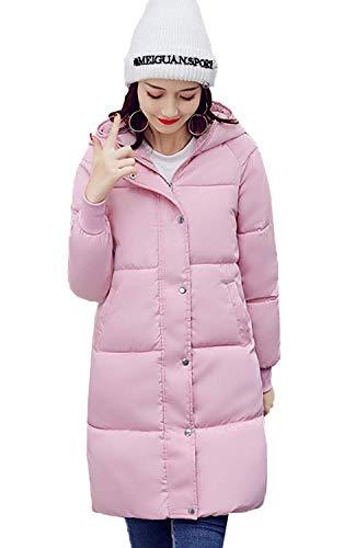 Damen Daunenmantel Winter Warm M?ntel Seitentaschen Mit Zipper Unikat Style Kn?pfen Langarm Unifarben Kapuzenjacke Young Fashion Lang Parka Pink