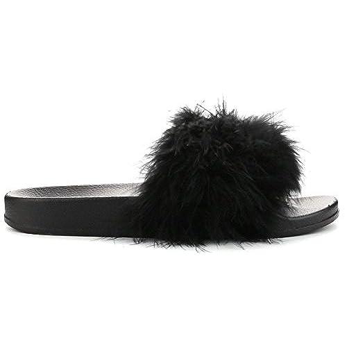 9ba089f1e564 Cape Robbin Moira-2 Women Flip Flop Marabou Fur Slide Slip On Flats Sandals  Shoe