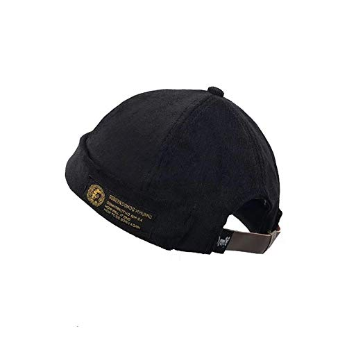 Evetin Vintage Unisex Cotton Watch Cap Commando Work Beanie Corduroy Docker  Leon Brimless Hat Rolled Cuff Harbour Hat A004 (Black) fdf90aaa3876