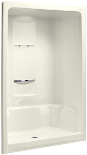 Sonata 1 Piece Shower (KOHLER K-1688-96 Sonata 60-Inch x 36-Inch x 90-Inch Center Drain Shower Stall with Integral High-Dome Ceiling, Biscuit)
