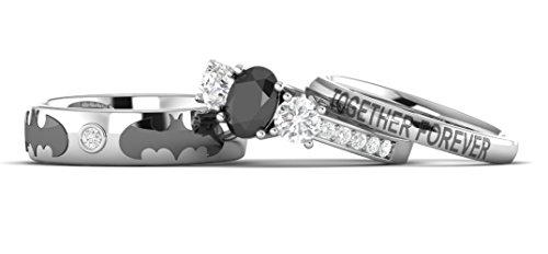 2.20Ct Oval White & Black Stone Batman Inspired Couple 3Pc Engagement Wedding Ring 925 Sterling silver (5.5) by Venus Jewels