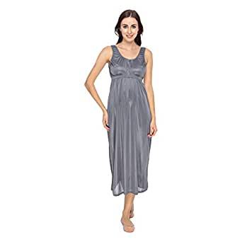 Cotton World Nightgown For Women - L, Gray