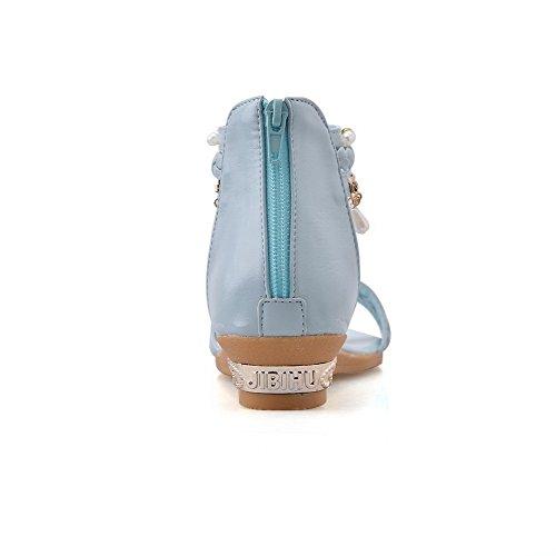 Material Mujer AalarDom Suave Puntera zhu Azul de Abierta 5 37 Mini Sandalias Tacón Cremallera vestir qXrddnxw