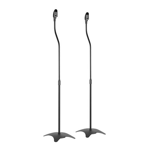 Impact Mounts Universal Surround Sound Speaker Stands Set of 2 Satellite Speaker (Black, 1 Pair)