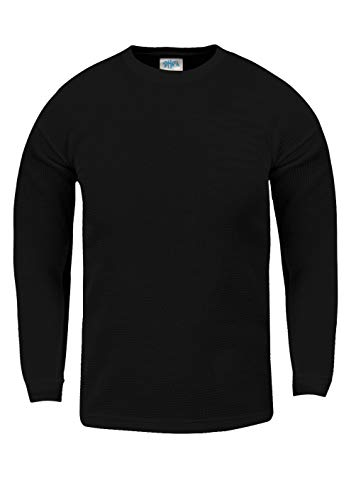 Shaka Wear KTC02_L Thermal Long Sleeve Crewneck Waffle Shirt Black L