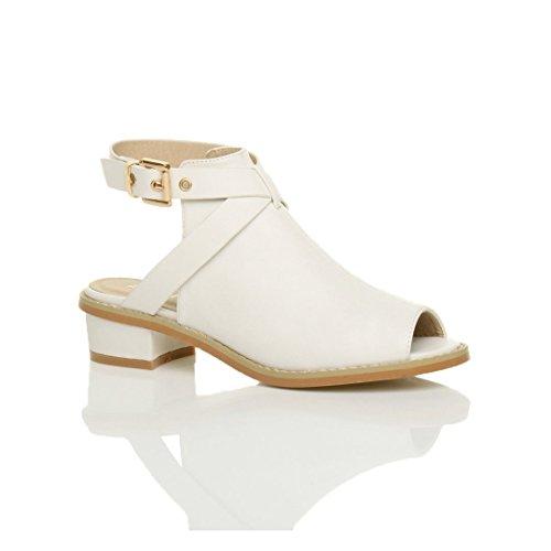 Damen Kleiner Blockabsatz Peep Toe Fesselriemen Stiefel Sandalen Größe 4 37